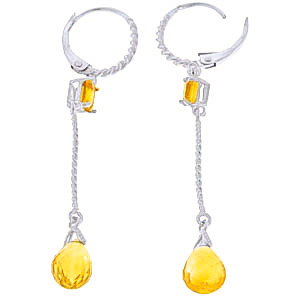 Citrine Twist Drop Earrings 3.5ctw in 9ct White Gold