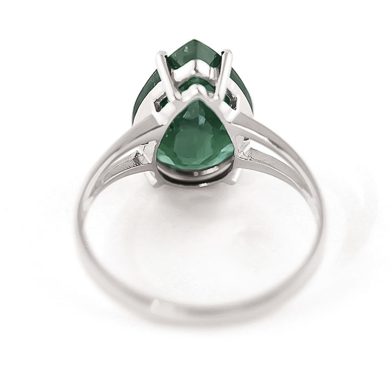 Pear Cut Emerald Ring 3.5ct in 9ct White Gold
