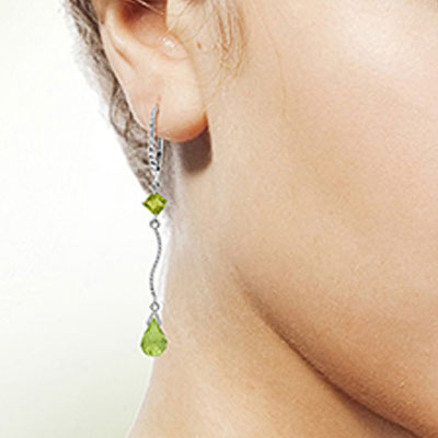 Peridot Twist Drop Earrings 3.5ctw in 14K White Gold