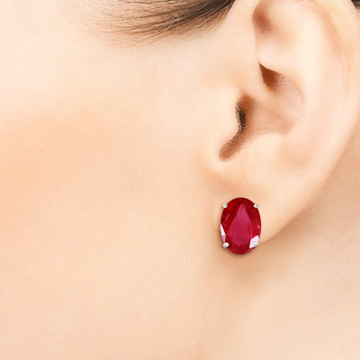 Ruby Stud Earrings 3.5ctw in 9ct White Gold