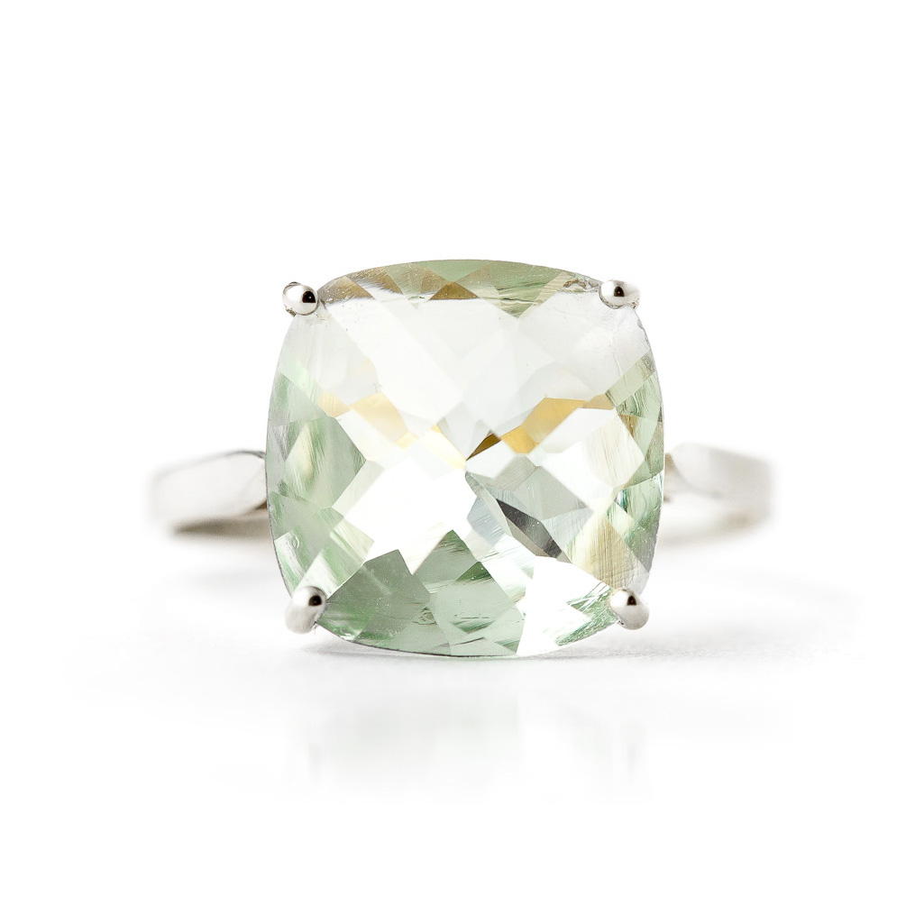 Green Amethyst Rococo Ring 3.6ct in 14K White Gold