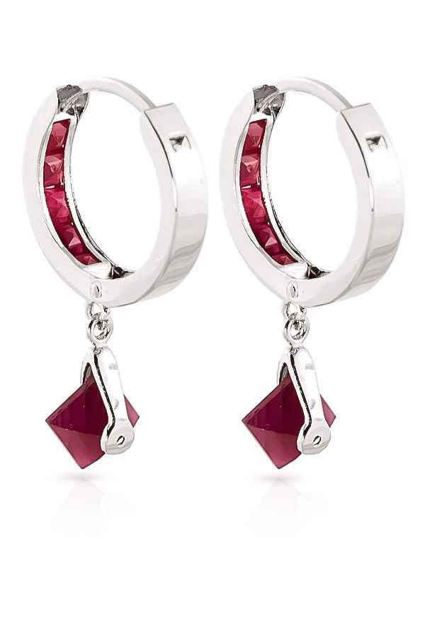 Ruby Earrings 3.7ctw in 9ct White Gold