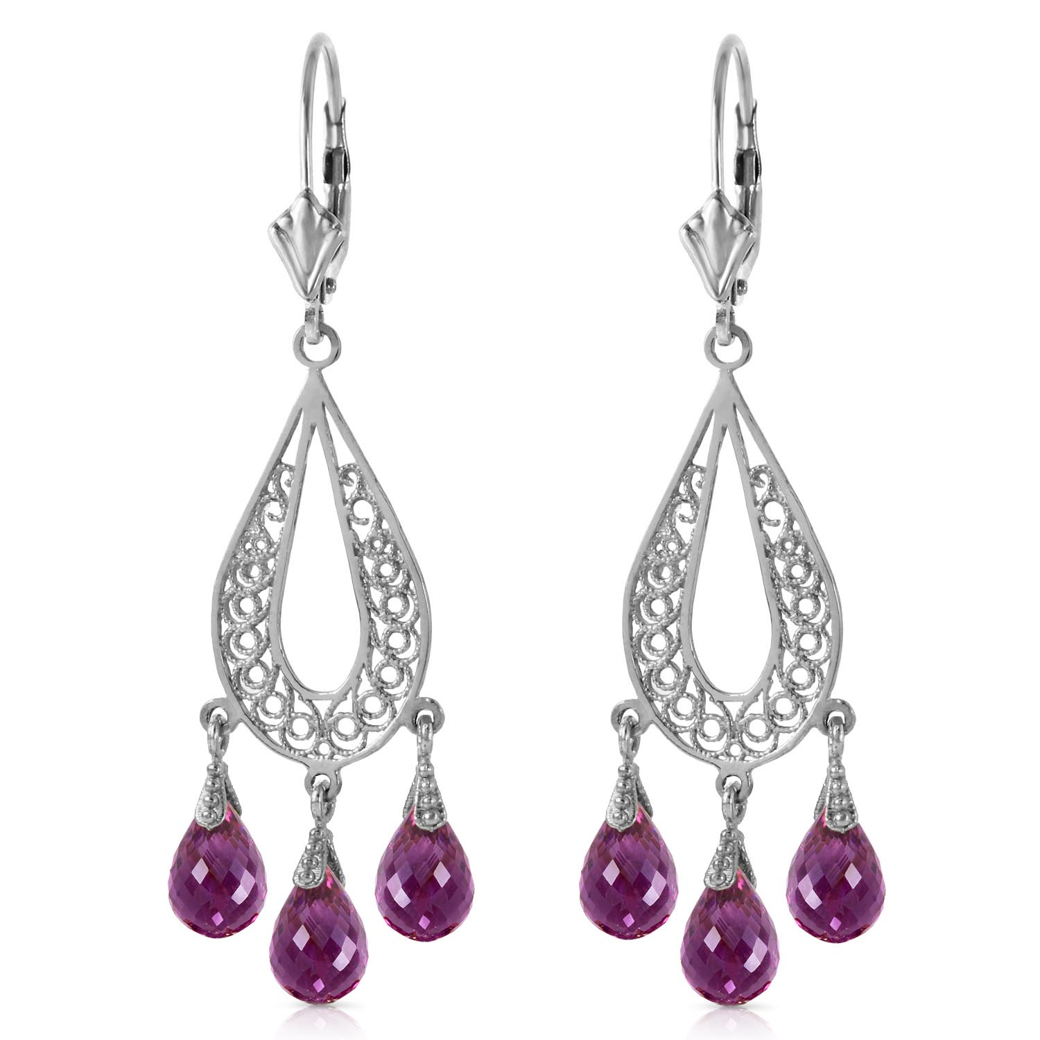 Amethyst Mirage Briolette Drop Earrings 3.75ctw in 14K White Gold