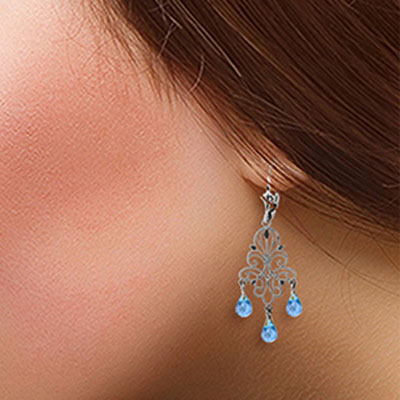 Blue Topaz Mirage Briolette Drop Earrings 3.75ctw in 9ct White Gold