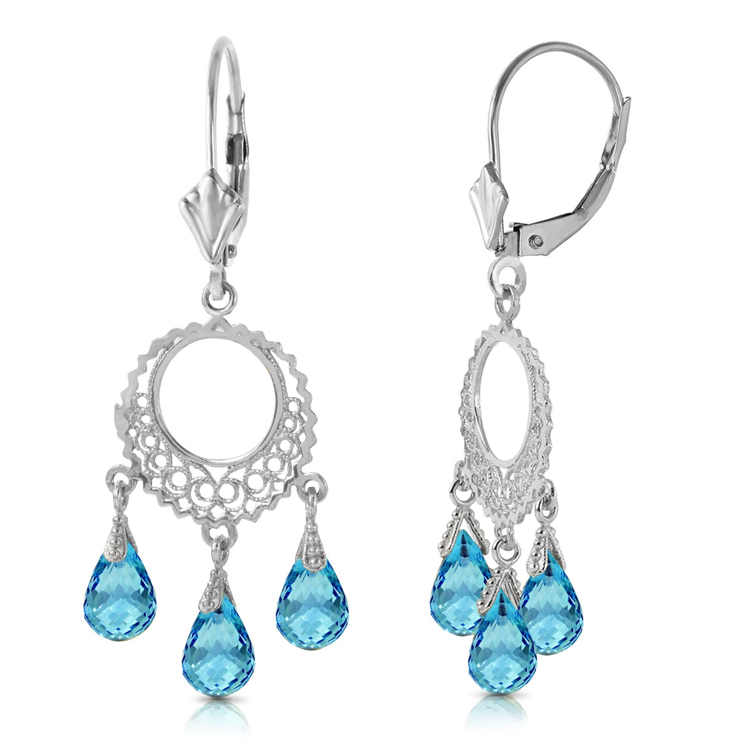 Blue Topaz Trilogy Briolette Drop Earrings 3.75ctw in 14K White Gold
