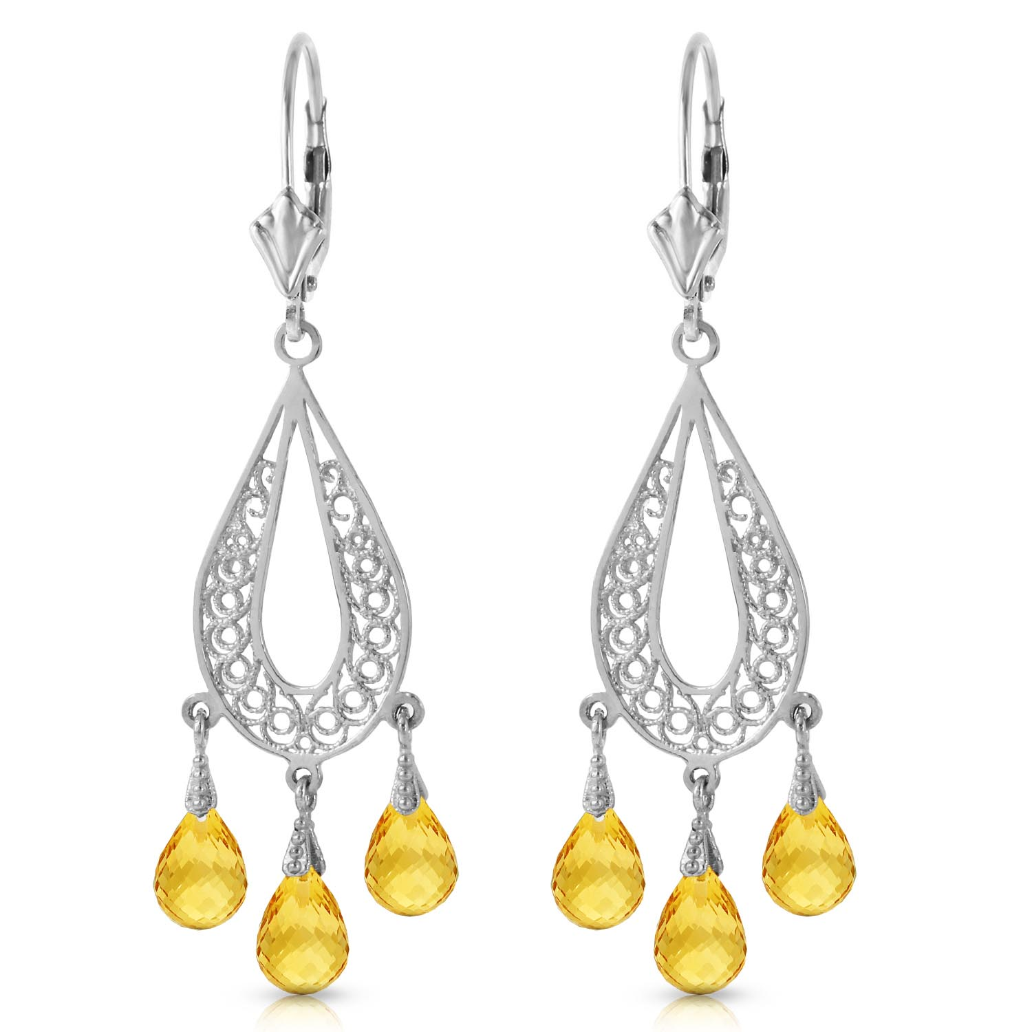 Citrine Mirage Briolette Drop Earrings 3.75ctw in 14K White Gold