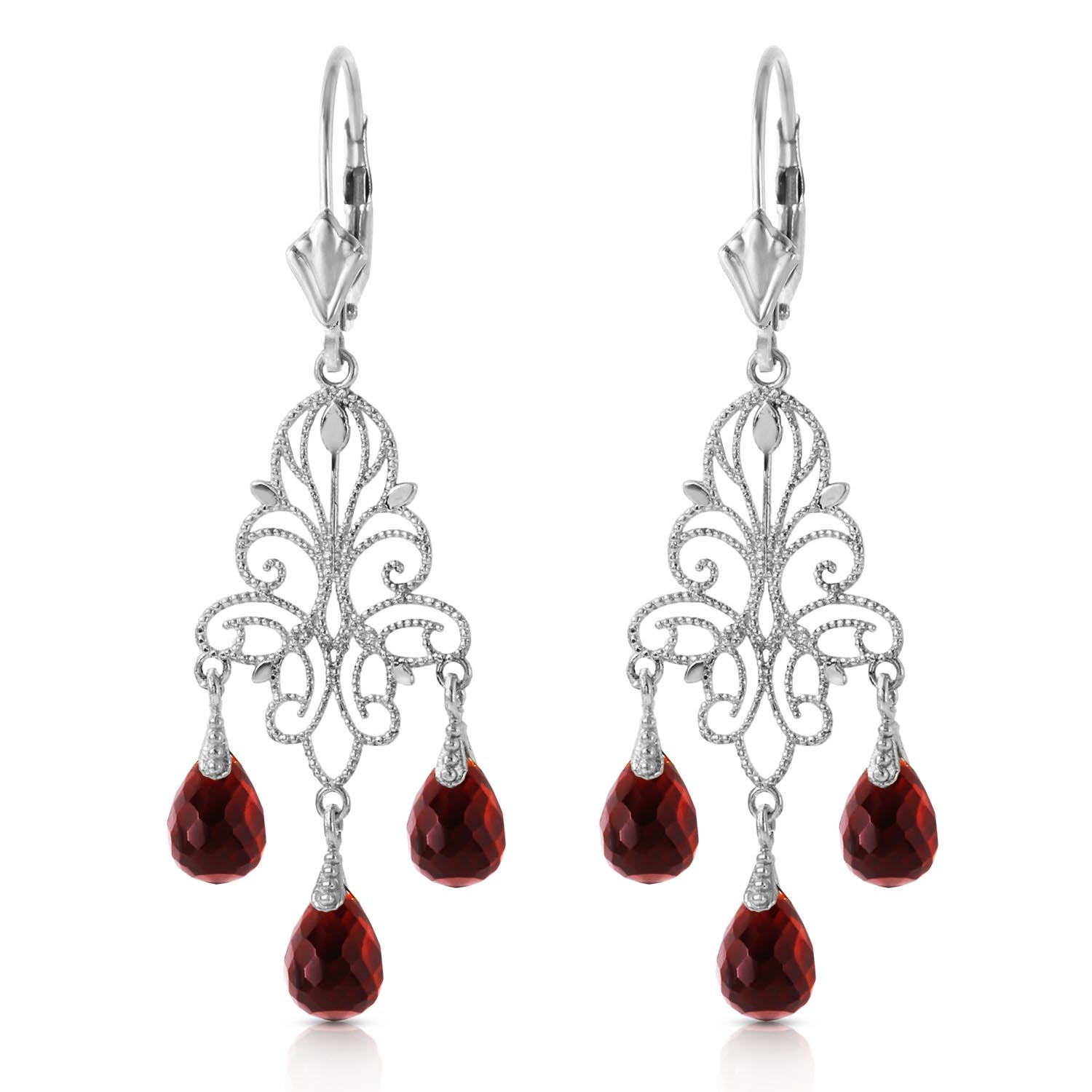 Garnet Mirage Briolette Drop Earrings 3.75ctw in 9ct White Gold