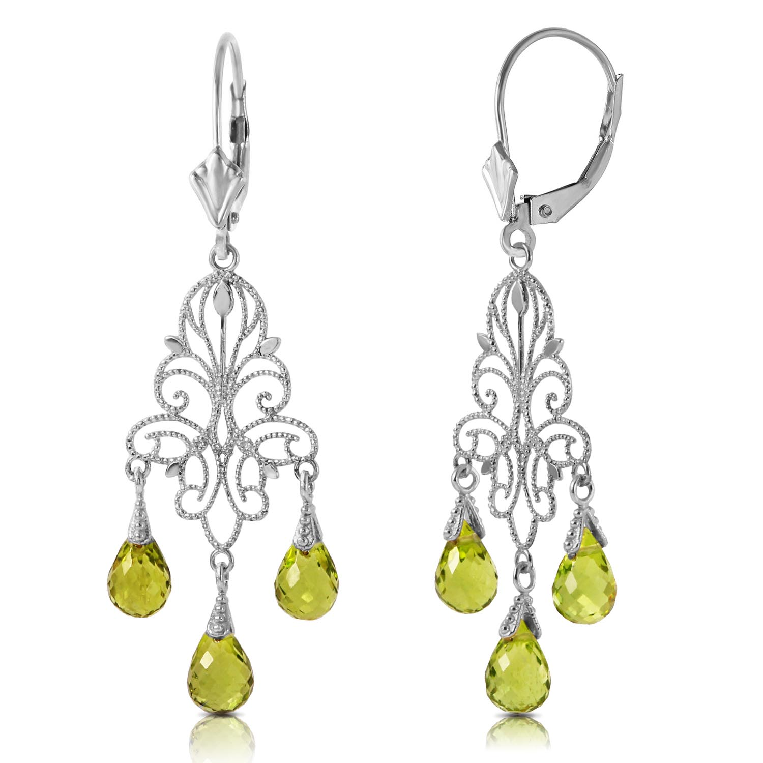 Peridot Mirage Briolette Drop Earrings 3.75ctw in 9ct White Gold