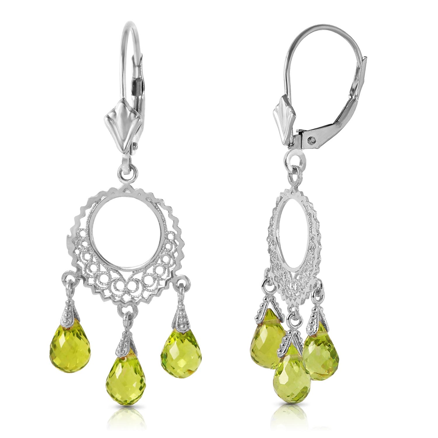 Peridot Trilogy Briolette Drop Earrings 3.75ctw in 9ct White Gold