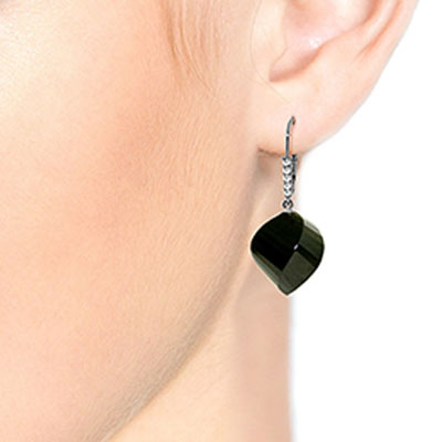 Black Spinel and Diamond Drop Earrings 31.0ctw in 14K White Gold