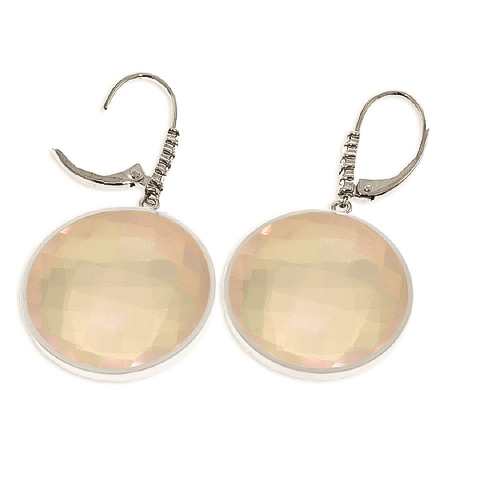 Rose Quartz and Diamond Drop Earrings 34.0ctw in 9ct White Gold
