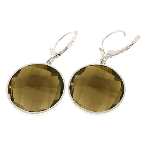 Smoky Quartz Drop Earrings 34.0ctw in 9ct White Gold