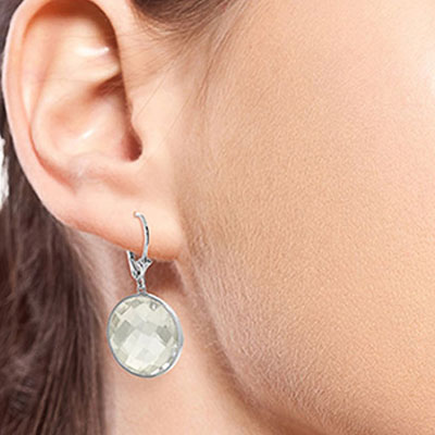 White Topaz Drop Earrings 36.0ctw in 9ct White Gold