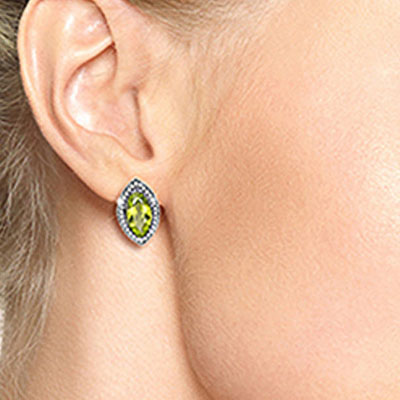 Peridot and Diamond French Clip Halo Earrings 4.0ctw in 14K White Gold
