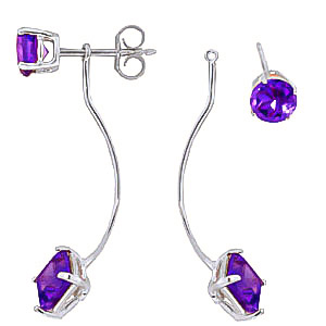 Amethyst Lure Drop Earrings 4.15ctw in 9ct White Gold