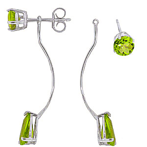 Peridot Lure Drop Earrings 4.2ctw in 9ct White Gold
