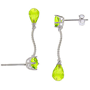 Peridot Lure Drop Earrings 4.3ctw in 14K White Gold