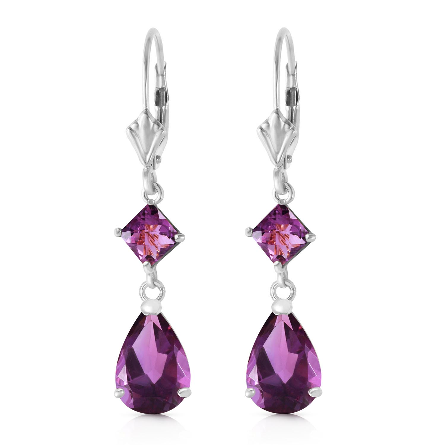 Amethyst Droplet Earrings 4.5ctw in 14K White Gold