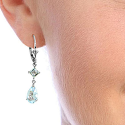 Aquamarine Droplet Earrings 4.5ctw in 14K White Gold