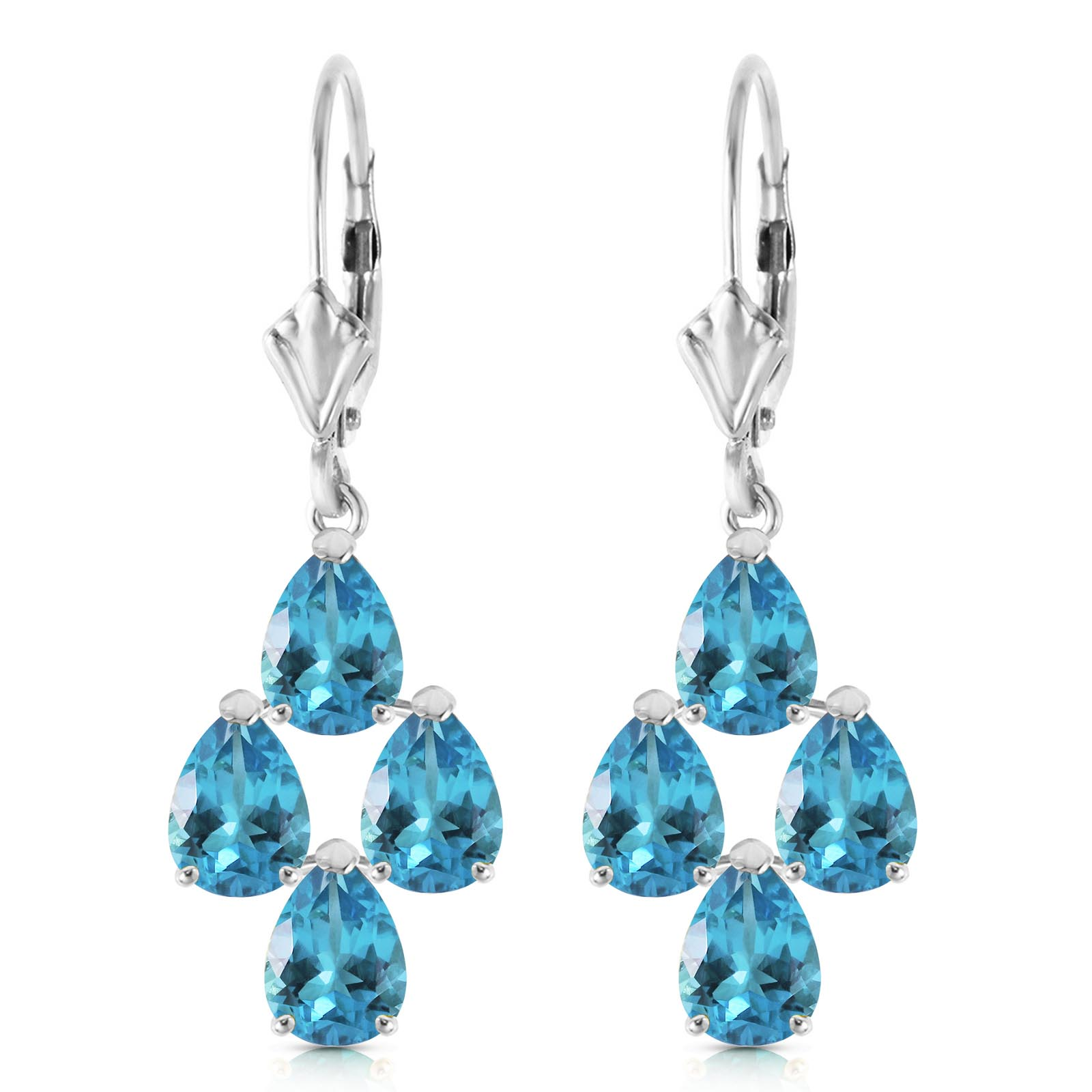 Blue Topaz Drop Earrings 4.5ctw in 14K White Gold