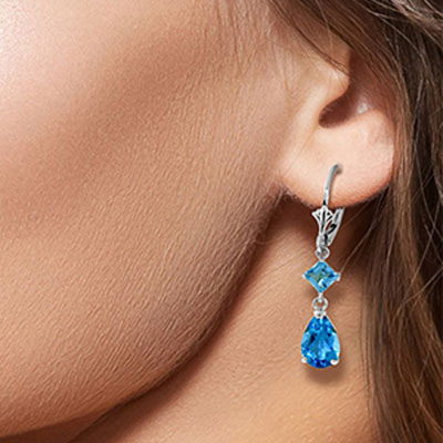 Blue Topaz Droplet Earrings 4.5ctw in 9ct White Gold