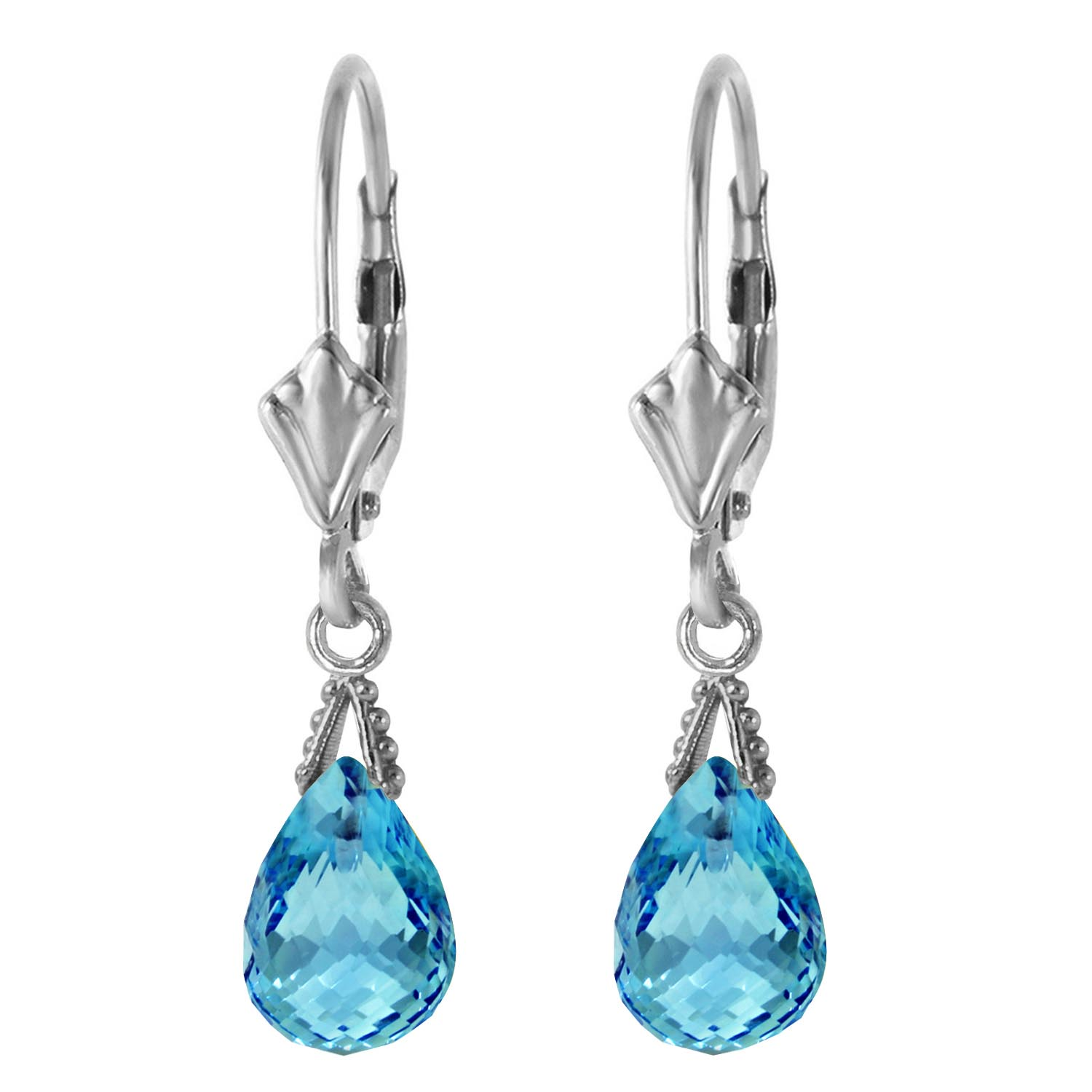 Blue Topaz Droplet Briolette Earrings 4.5ctw in 9ct White Gold