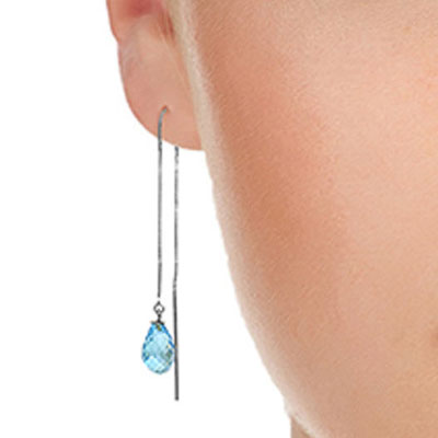 Blue Topaz Scintilla Briolette Earrings 4.5ctw in 9ct White Gold