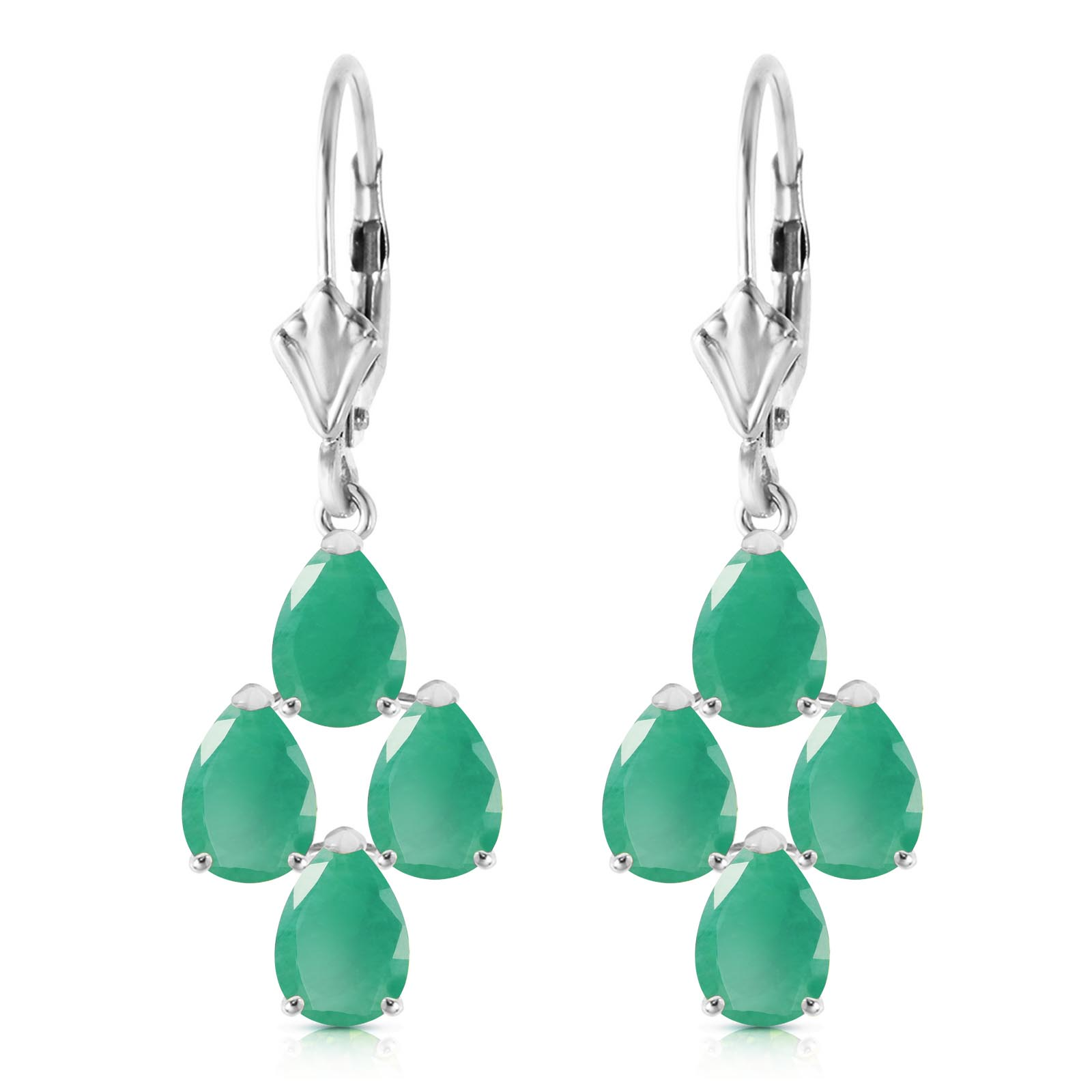 Emerald Drop Earrings 4.5ctw in 9ct White Gold