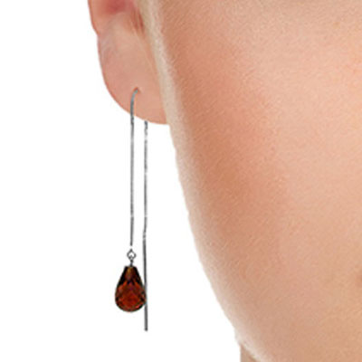 Garnet Scintilla Briolette Earrings 4.5ctw in 14K White Gold