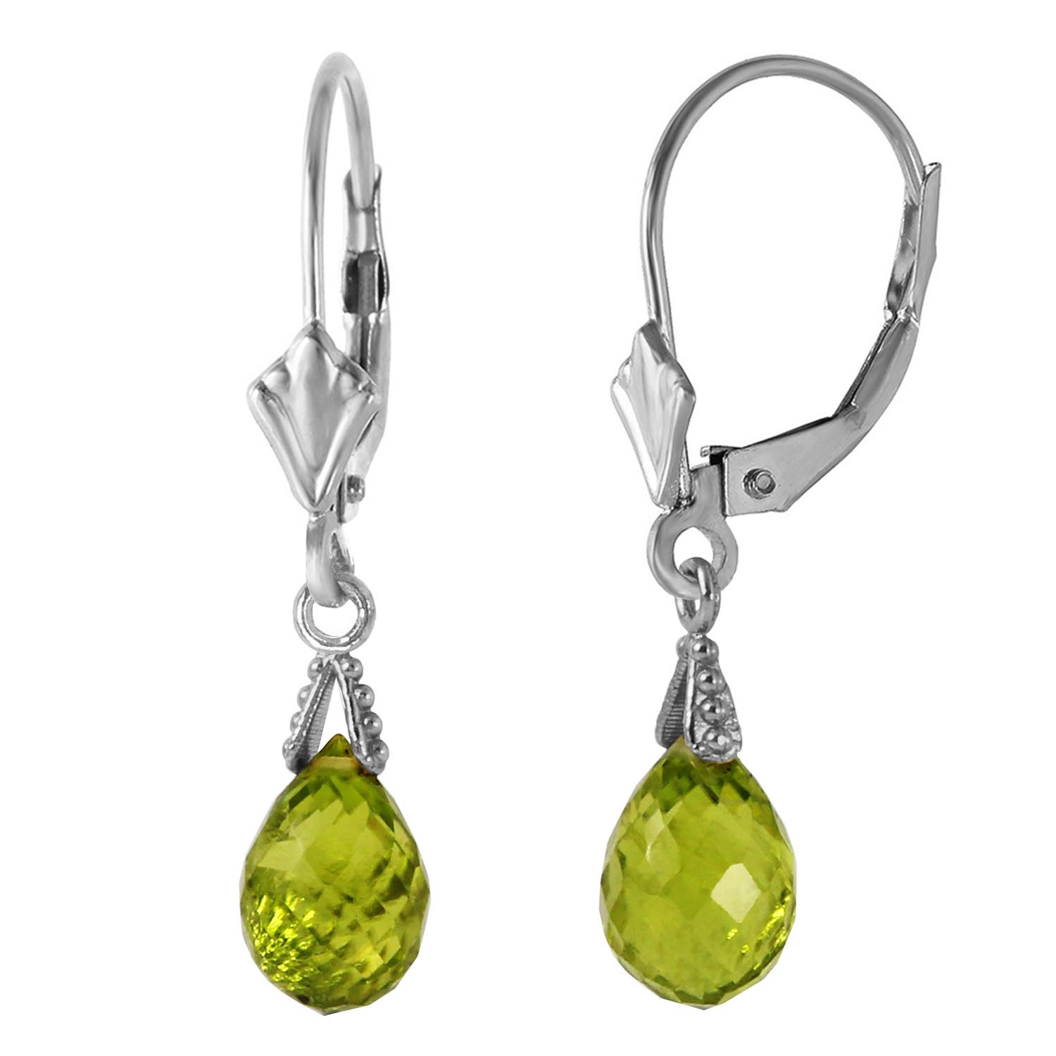 Peridot Droplet Briolette Earrings 4.5ctw in 14K White Gold