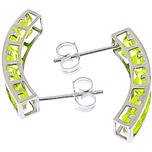 Peridot Channel Set Stud Earrings 4.5ctw in 9ct White Gold
