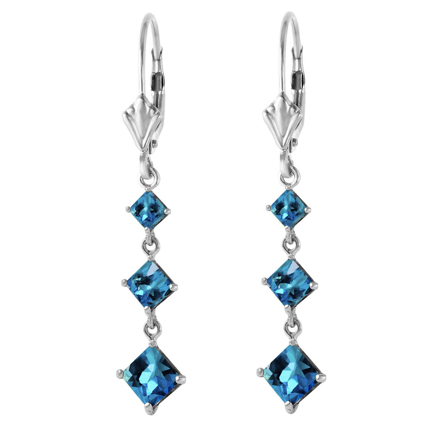 Blue Topaz Three Stone Drop Earrings 4.714Kw in 14K White Gold