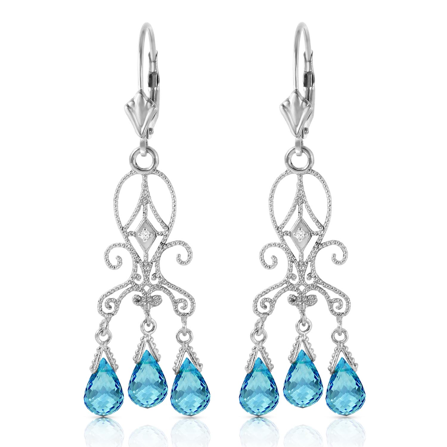 Blue Topaz and Diamond Baroque Drop Earrings 4.8ctw in 9ct White Gold