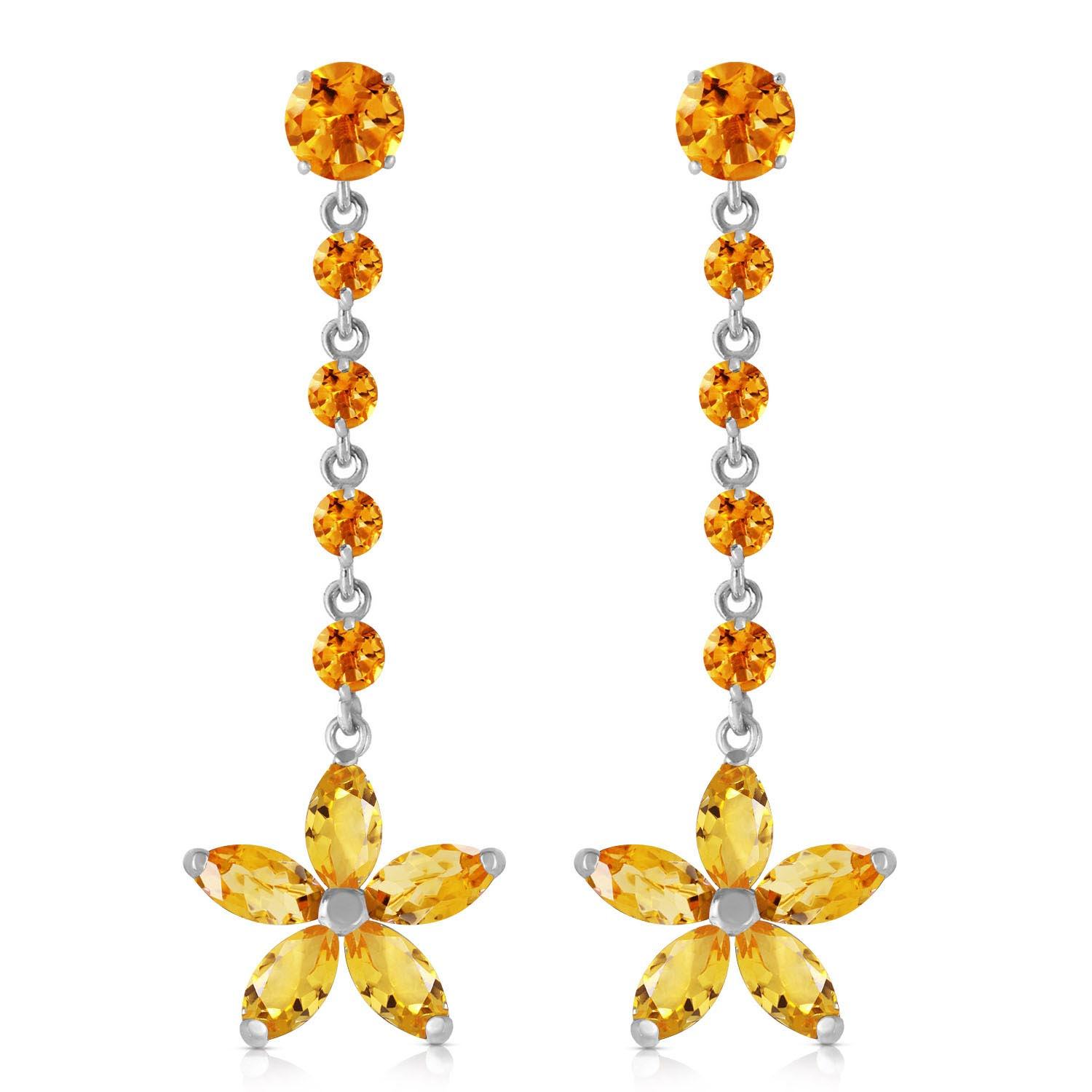 Citrine Daisy Chain Drop Earrings 4.8ctw in 9ct White Gold