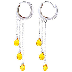 Citrine Trilogy Droplet Briolette Earrings 4.8ctw in 14K White Gold