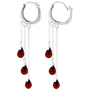 Garnet Trilogy Droplet Briolette Earrings 4.8ctw in 9ct White Gold