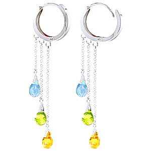 Gemstone Trilogy Droplet Briolette Earrings 4.8ctw in 9ct White Gold
