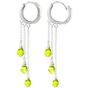 Peridot Trilogy Droplet Briolette Earrings 4.8ctw in 9ct White Gold