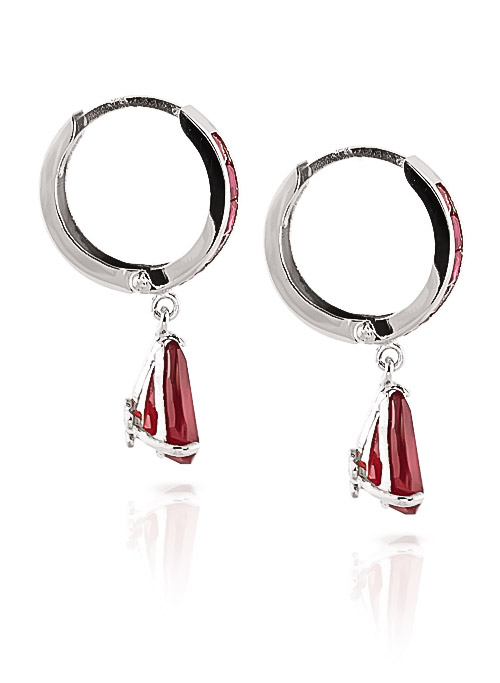 Ruby Huggie Drop Earrings 4.8ctw in 9ct White Gold