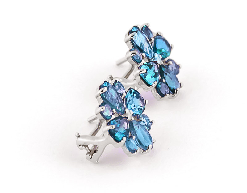 Blue Topaz Sunflower Stud Earrings 4.85ctw in 9ct White Gold