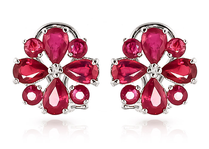 Ruby Sunflower Stud Earrings 4.85ctw in 9ct White Gold