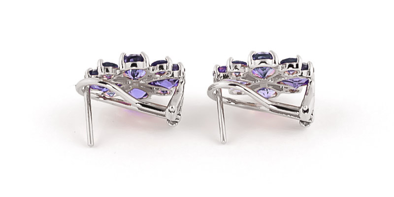 Tanzanite Sunflower Stud Earrings 4.85ctw in 14K White Gold