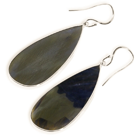 Sapphire Drop Earrings 42.0ctw in 14K White Gold