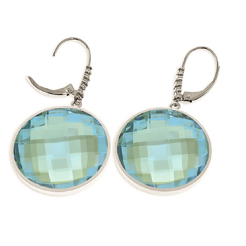Blue Topaz and Diamond Drop Earrings 46.0ctw in 14K White Gold