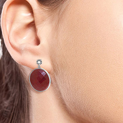 Ruby and Diamond Stud Earrings 46.0ctw in 9ct White Gold