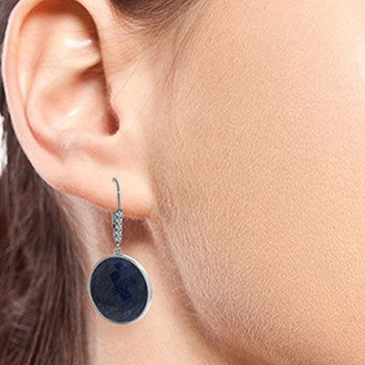 Sapphire and Diamond Drop Earrings 46.0ctw in 14K White Gold