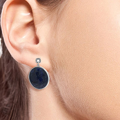 Sapphire and Diamond Stud Earrings 46.0ctw in 14K White Gold