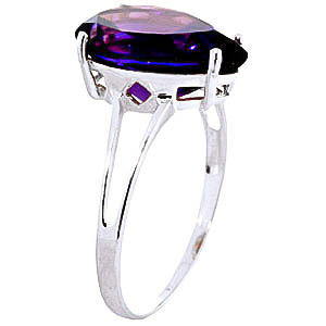 Pear Cut Amethyst Ring 5.0ct in 14K White Gold