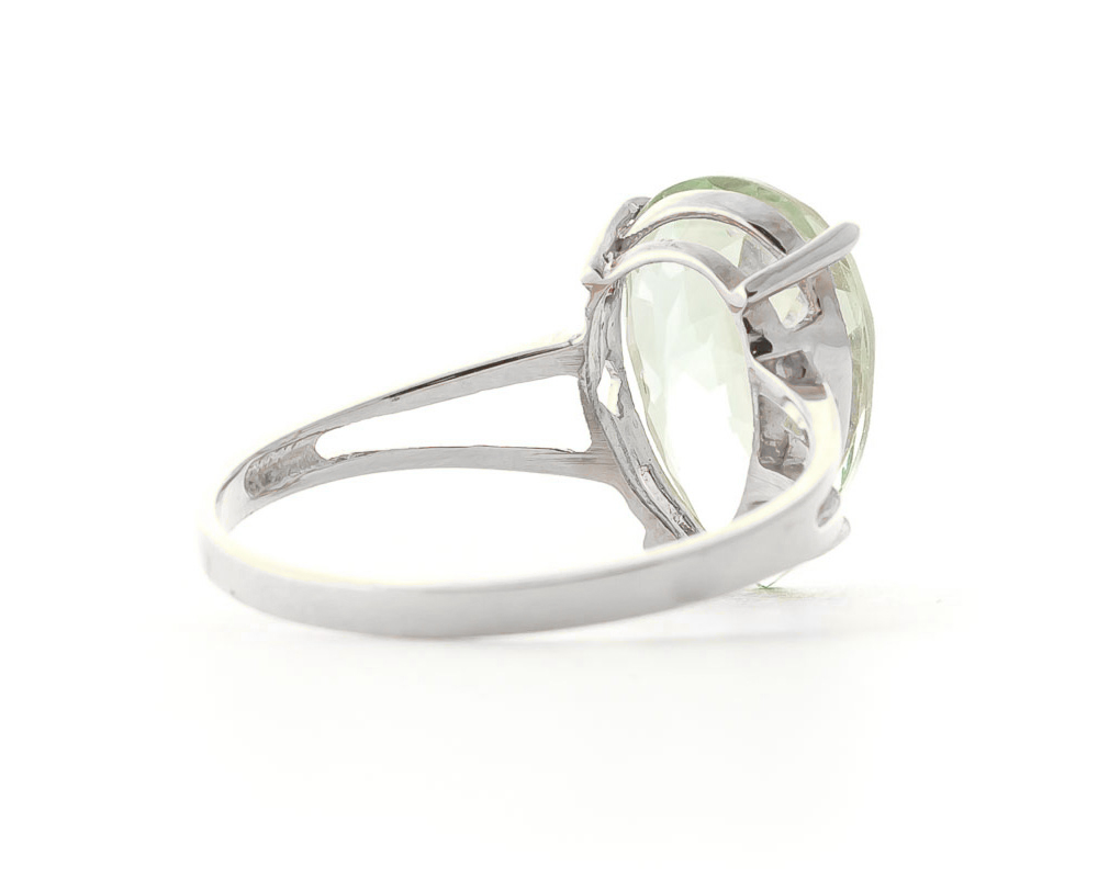 Pear Cut Green Amethyst Ring 5.0ct in 9ct White Gold