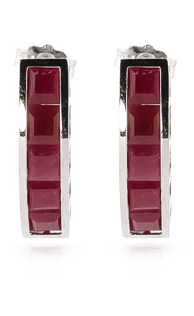 Ruby Channel Set Stud Earrings 5.0ctw in 9ct White Gold